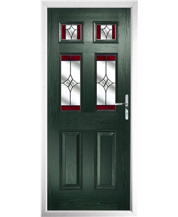 The Oxford Composite Door in Green with Red Crystal Harmony