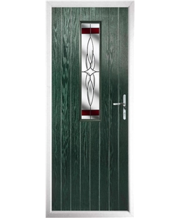 The Sheffield Composite Door in Green with Red Crystal Harmony