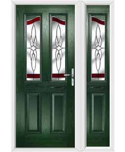 The Birmingham Composite Door in Green with Red Crystal Harmony and matching Side Panel