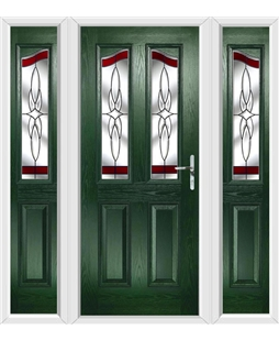 The Birmingham Composite Door in Green with Red Crystal Harmony and matching Side Panels
