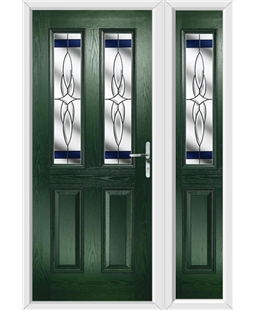 The Cardiff Composite Door in Green with Blue Crystal Harmony and matching Side Panel