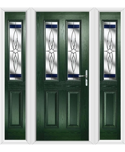 The Cardiff Composite Door in Green with Blue Crystal Harmony and matching Side Panels