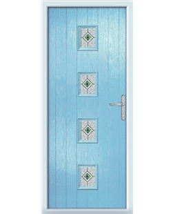 The Uttoxeter Composite Door in Blue (Duck Egg) with Daventry Green