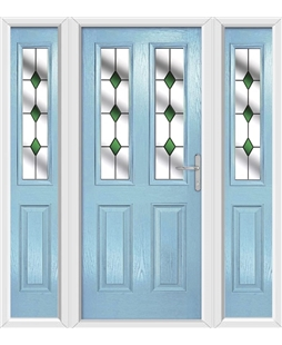 The Cardiff Composite Door in Blue (Duck Egg) with Green Diamonds and matching Side Panels