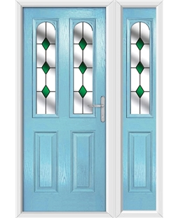The Aberdeen Composite Door in Blue (Duck Egg) with Green Diamonds and matching Side Panel