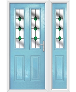 The Cardiff Composite Door in Blue (Duck Egg) with Green Diamonds and matching Side Panel