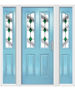 The Birmingham Composite Door in Blue (Duck Egg) with Green Diamonds and matching Side Panels