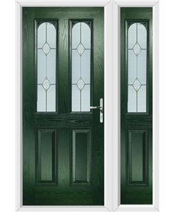 The Aberdeen Composite Door in Green with Classic Glazing and matching Side Panel