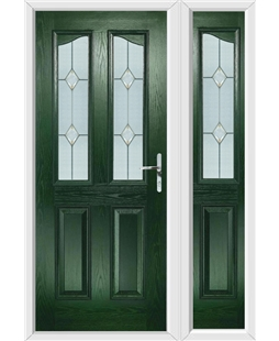 The Birmingham Composite Door in Green with Classic Glazing and matching Side Panel