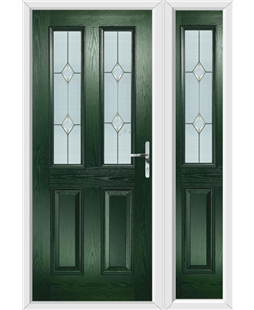 The Cardiff Composite Door in Green with Classic Glazing and matching Side Panel