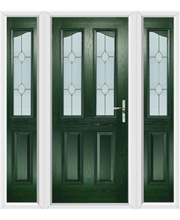 The Birmingham Composite Door in Green with Classic Glazing and matching Side Panels