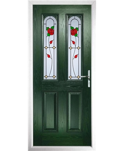 The Aberdeen Composite Door in Green with English Rose