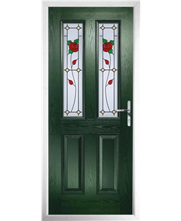The Cardiff Composite Door in Green with English Rose