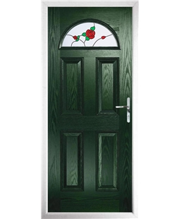 The Derby Composite Door in Green with English Rose