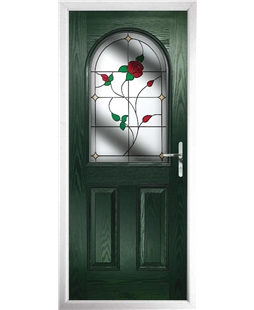 The Edinburgh Composite Door in Green with English Rose