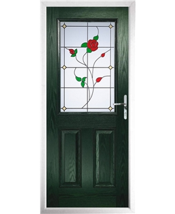 The Farnborough Composite Door in Green with English Rose
