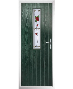 The Sheffield Composite Door in Green with English Rose