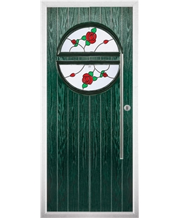 The Xenia Composite Door in Green with English Rose
