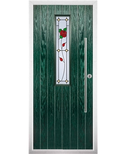 The York Composite Door in Green with English Rose