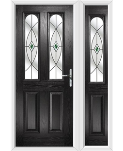 The Aberdeen Composite Door in Black with Green Fusion Ellipse and matching Side Panel