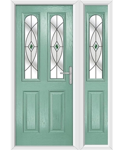 The Aberdeen Composite Door in Green (Chartwell) with Green Fusion Ellipse and matching Side Panel