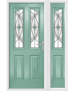 The Birmingham Composite Door in Green (Chartwell) with Green Fusion Ellipse and matching Side Panel