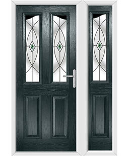 The Birmingham Composite Door in Grey (Anthracite) with Green Fusion Ellipse and matching Side Panel
