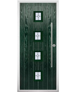 The Leicester Composite Door in Green with Finesse Glazing
