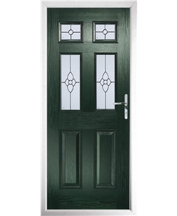 The Oxford Composite Door in Green with Finesse Glazing