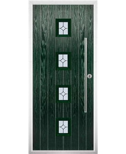 The Leicester Composite Door in Green with Flair Glazing