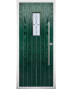 The Zetland Composite Door in Green with Flair Glazing