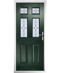 The Oxford Composite Door in Green with Flair Glazing