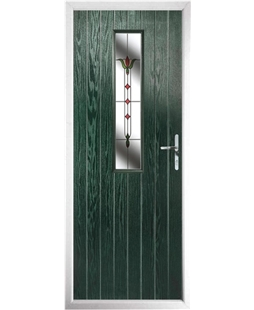 The Sheffield Composite Door in Green with Fleur