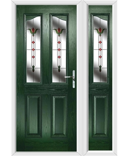 The Birmingham Composite Door in Green with Fleur and matching Side Panel