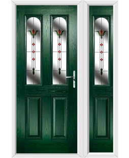 The Aberdeen Composite Door in Green with Fleur and matching Side Panel