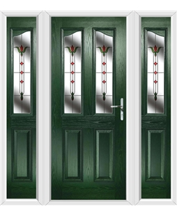 The Birmingham Composite Door in Green with Fleur and matching Side Panels