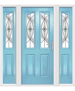 The Birmingham Composite Door in Blue (Duck Egg) with Green Fusion Ellipse and matching Side Panels
