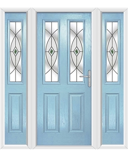 The Cardiff Composite Door in Blue (Duck Egg) with Green Fusion Ellipse and matching Side Panels