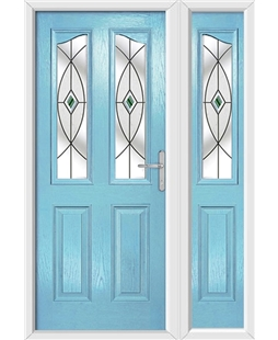 The Birmingham Composite Door in Blue (Duck Egg) with Green Fusion Ellipse and matching Side Panel