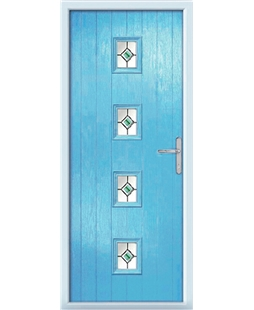 The Uttoxeter Composite Door in Blue (Duck Egg) with Green Fusion Ellipse
