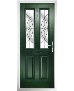 The Cardiff Composite Door in Green with Green Fusion Ellipse