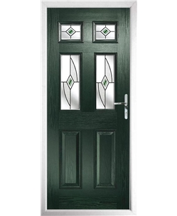 The Oxford Composite Door in Green with Green Fusion Ellipse