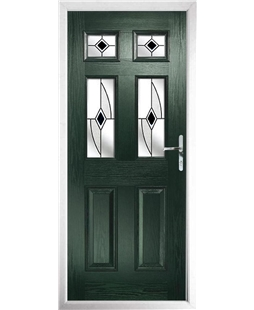 The Oxford Composite Door in Green with Black Fusion Ellipse