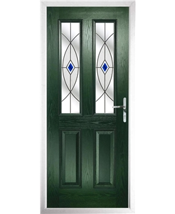 The Cardiff Composite Door in Green with Blue Fusion Ellipse