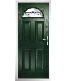 The Derby Composite Door in Green with Blue Fusion Ellipse