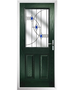 The Farnborough Composite Door in Green with Blue Fusion Ellipse