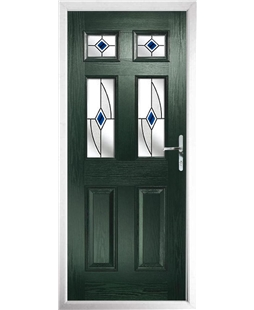 The Oxford Composite Door in Green with Blue Fusion Ellipse