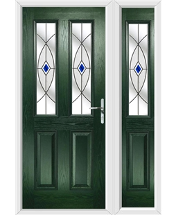 The Cardiff Composite Door in Green with Blue Fusion Ellipse and matching Side Panel