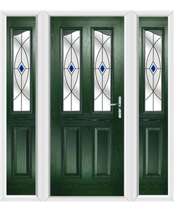 The Birmingham Composite Door in Green with Blue Fusion Ellipse and matching Side Panels
