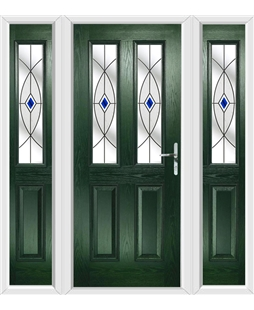 The Cardiff Composite Door in Green with Blue Fusion Ellipse and matching Side Panels